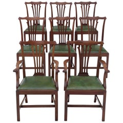 Antique Set of 8 Mahogany Dining Chairs, Mid-19th Century