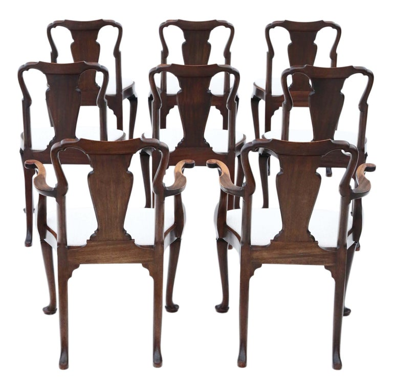 Antique fine quality set of 8 (6+2) mahogany dining chairs Queen Anne revival, circa 1910.
