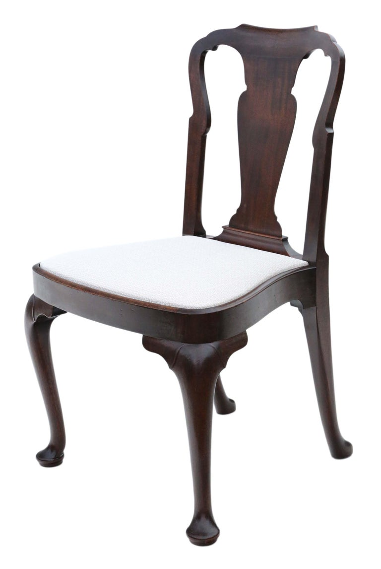 Antique Set of 8 '6+2' Mahogany Dining Chairs Queen Anne Revival 5