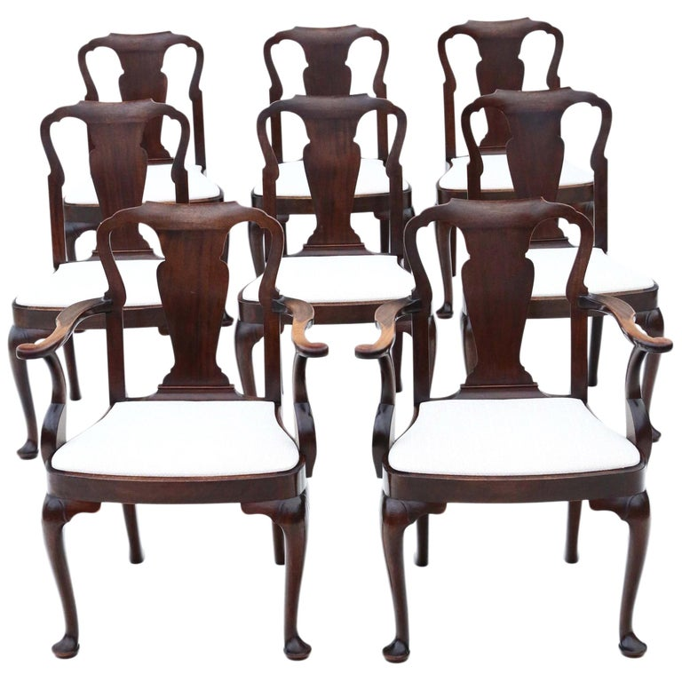 Antique Set of 8 '6+2' Mahogany Dining Chairs Queen Anne Revival