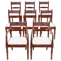 Antique Set of 8 '6+2' Regency Mahogany Dining Chairs, 19th Century