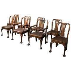 Antique Set of 8 Chippendale Chairs Includes 2 Armchairs