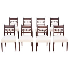 Antique Set of 8 Georgian circa 1825 Mahogany X Back Dining Chairs