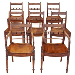 Antique Set of 8 Light Mahogany 19th Century Kitchen Dining Chairs