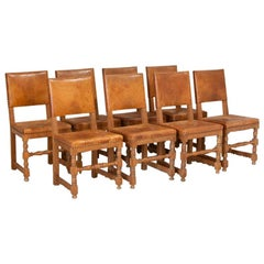 Antique Set of 8 Oak Dining Chairs with Original Vintage Leather Seats and Backs