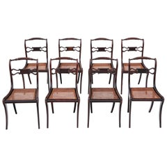 Antique Set of 8 Regency Faux Rosewood Dining Chairs