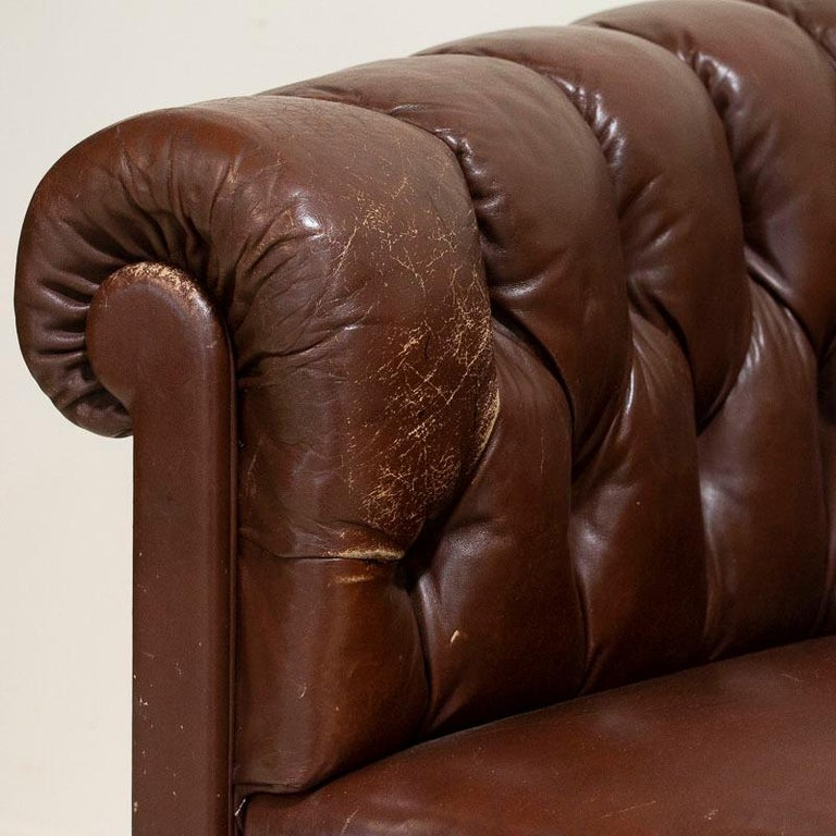 Antique Set of Brown Vintage Leather Chesterfield Sofa and Pair of Club Chairs For Sale 9