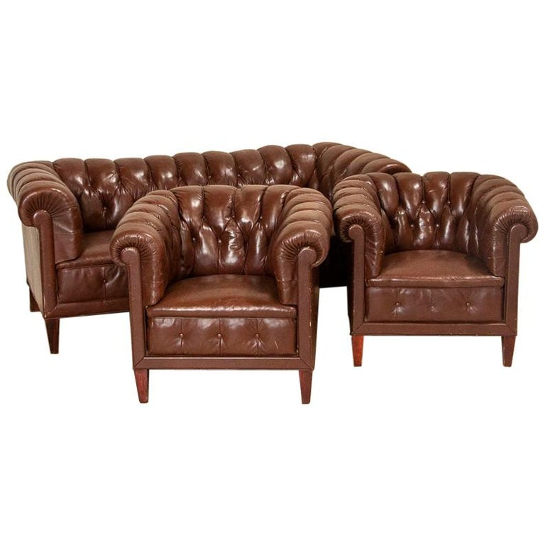 Antique Set of Brown Vintage Leather Chesterfield Sofa and Pair of Club Chairs For Sale