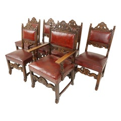 Antique Set of Chairs, 6 '5+1' Oak Dining Padded Chairs, Scotland 1920, B2573