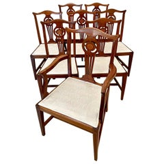 Antique Set of Eight 19th Century George III Style Mahogany Inlaid Dining Chairs