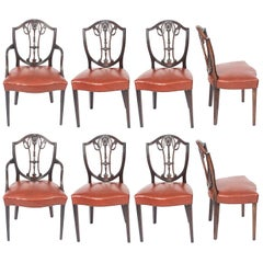 Antique Set of Eight English Hepplewhite Shield Back Dining Chairs 19th Century