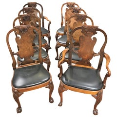 Antique Set of Eight English Walnut Queen Anne Dining Chairs
