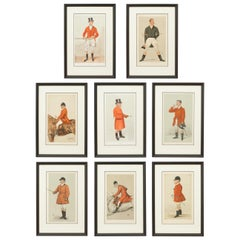 Antique Set of Eight Fox Hunting Vanity Fair Prints, Huntsman in Red Coats