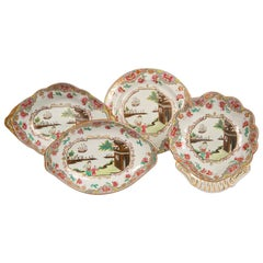 Antique Set of Eight Shaped Dishes in the Spode Mandarin Pattern