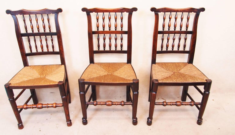 Georgian Antique Set of Eight Spindle Back Dining Chairs For Sale