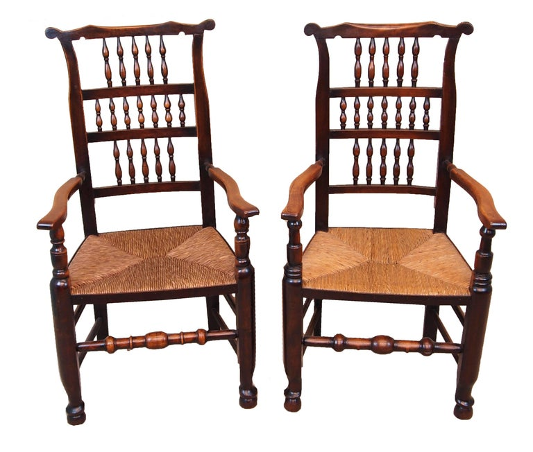 English Antique Set of Eight Spindle Back Dining Chairs For Sale