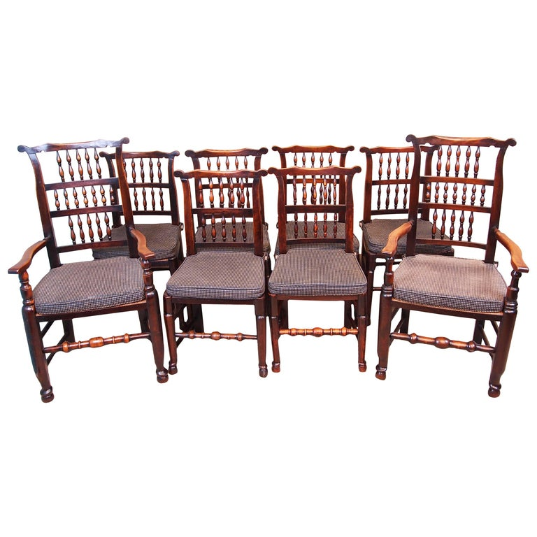 Antique Dining Room Chairs For Sale: Antique Set Of Eight Spindle Back Dining Chairs For Sale