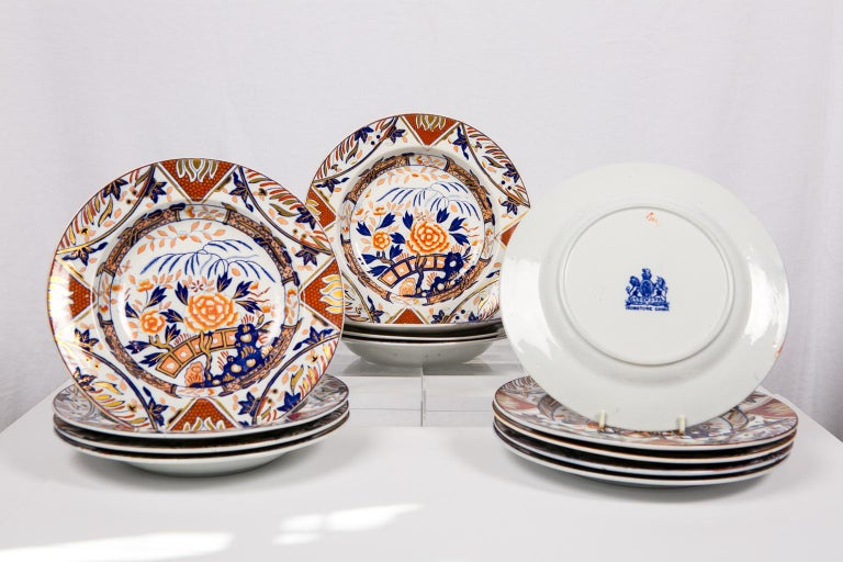 Chinoiserie Antique Set of English Imari Porcelain Dishes Painted Iron Red Blue Gold For Sale