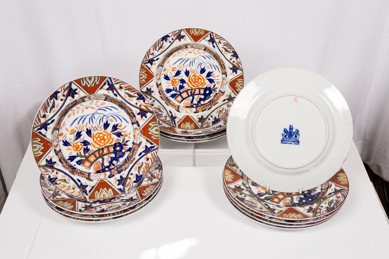 19th Century Antique Set of English Imari Porcelain Dishes Painted Iron Red Blue Gold For Sale