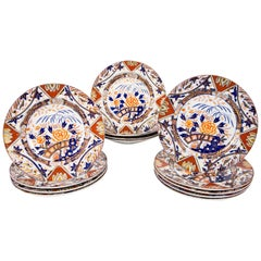 Antique Set of English Imari Porcelain Dishes Painted Iron Red Blue Gold