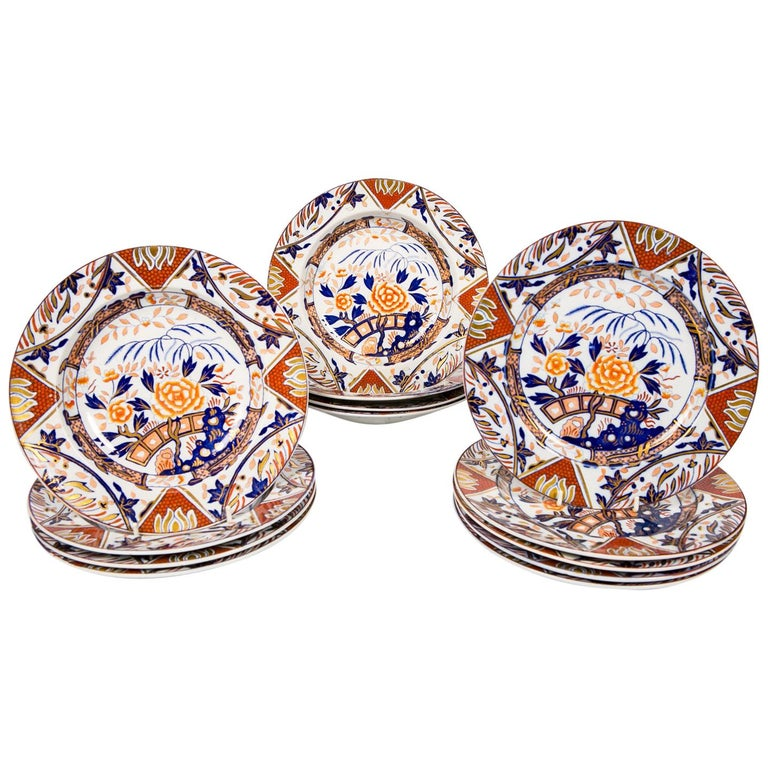 Antique Set of English Imari Porcelain Dishes Painted Iron Red Blue Gold For Sale