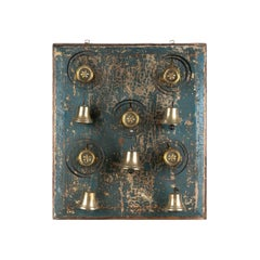 Antique Set of Five Brass House Bells Mounted on Blue Paint Wood Panel