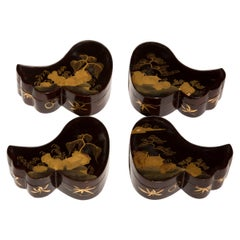 Antique Set of Four Chinoiserie Lacquer Jewelry Boxes, Japanese, 19th Century