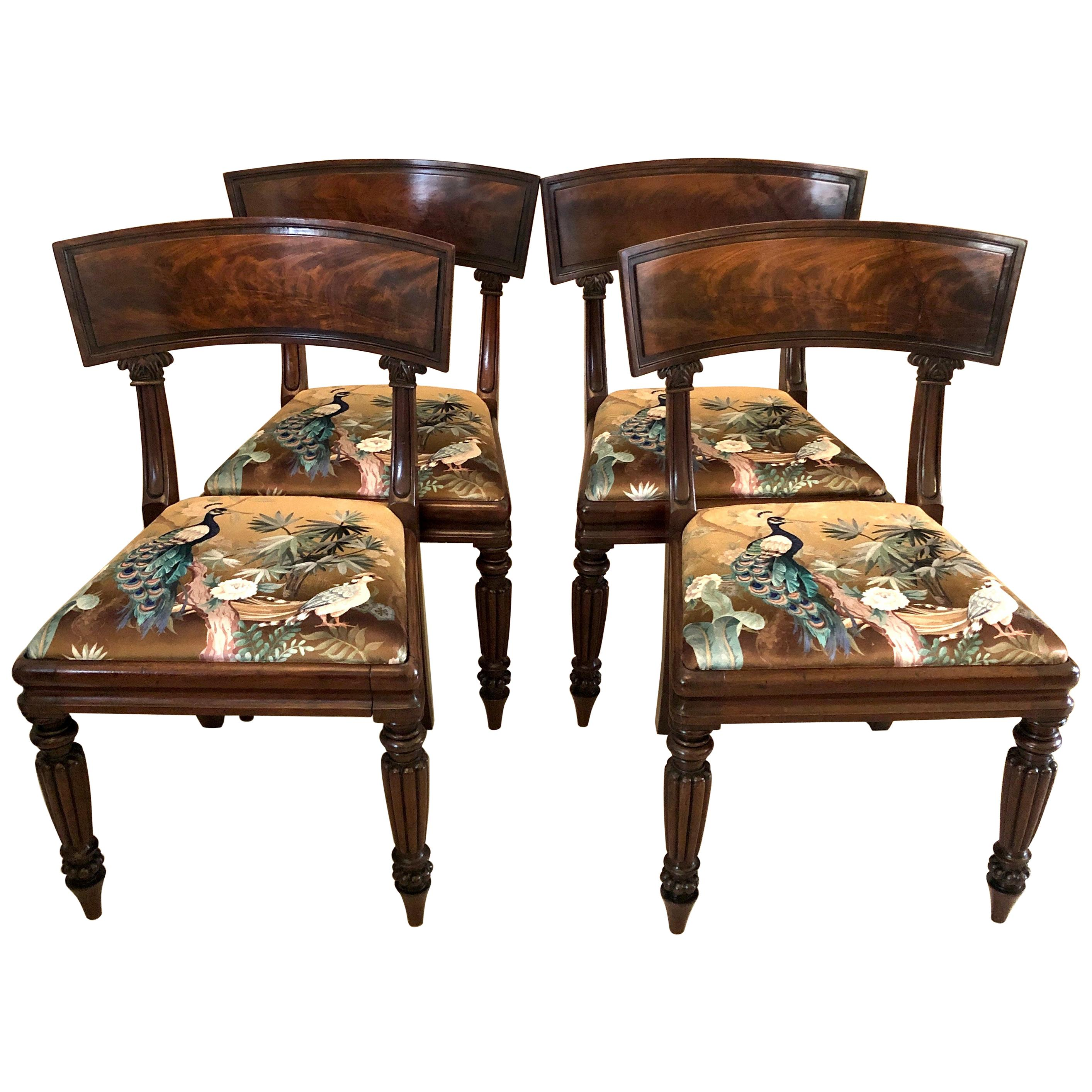 Antique Set of Four Early 19th Century Mahogany Regency Library Chairs