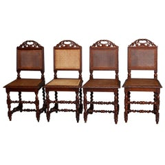 Antique Set of Four French Renaissance Carved Walnut & Cane Chairs, 19th Century