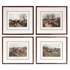 Antique Set of Four Hand Colored Lithographs Forest's  Steeple Chase