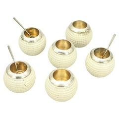 Antique Set of Golf Ball Salts in Presentation Case