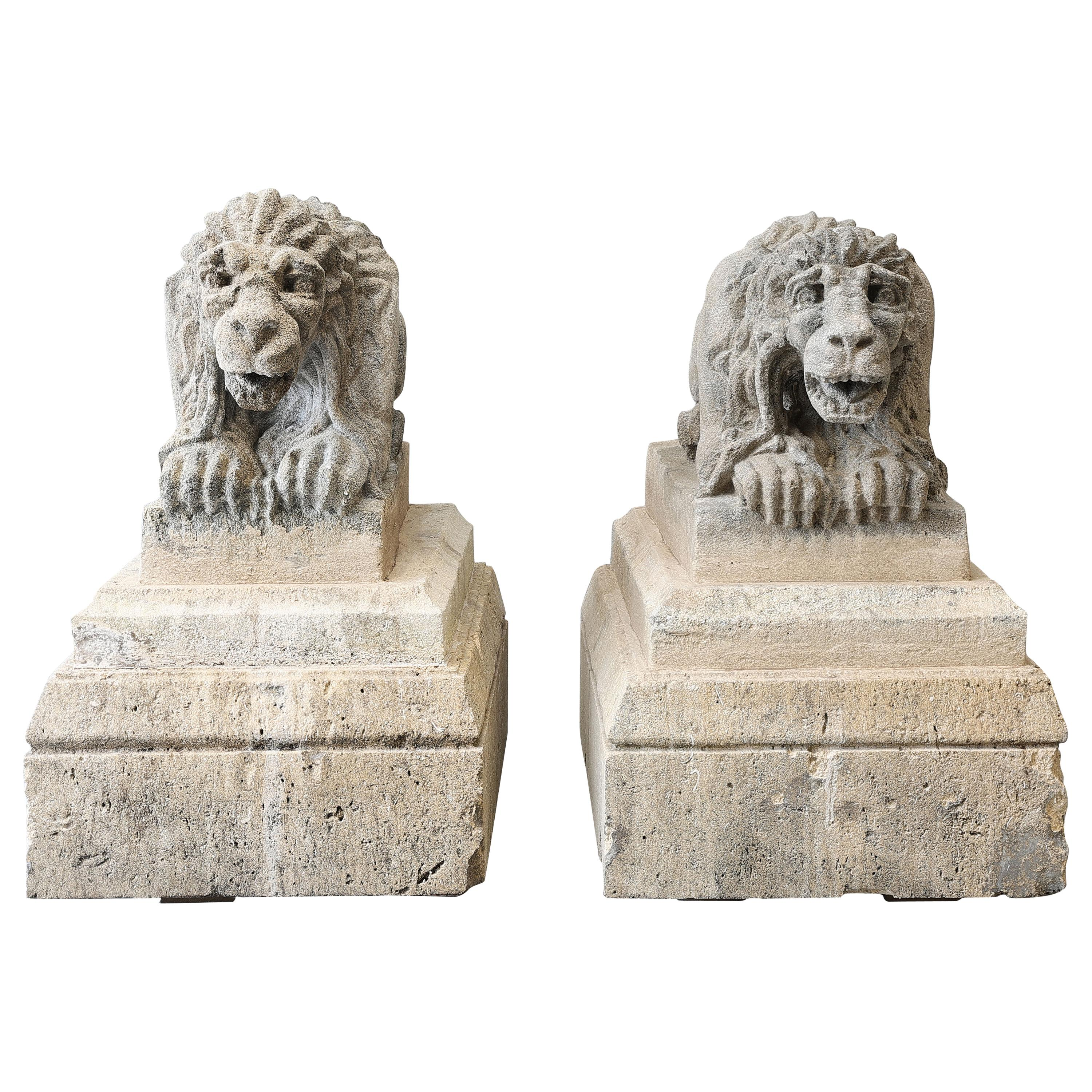 Antique Set of Lions on a Pedestal of French Limestone from the 19th Century