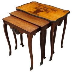 Antique Set of Mahogany Nesting Tables w. Inlaid Love Theme & Bronze Ornaments