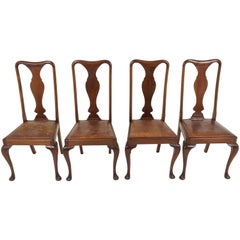 Antique Set of 4 Mahogany Queen Anne Style Dining Chairs, Scotland 1920, B2167