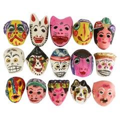 Antique Set of Mexican Papier-Mâché Masks