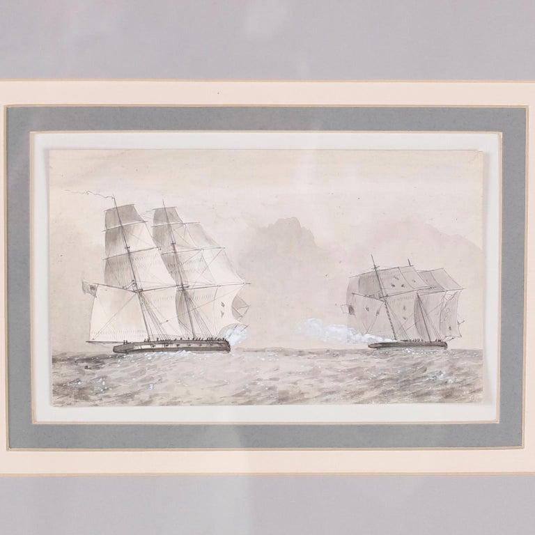 Antique Set of Nine Framed Pen and Ink Navel Sailing Ships For Sale 3