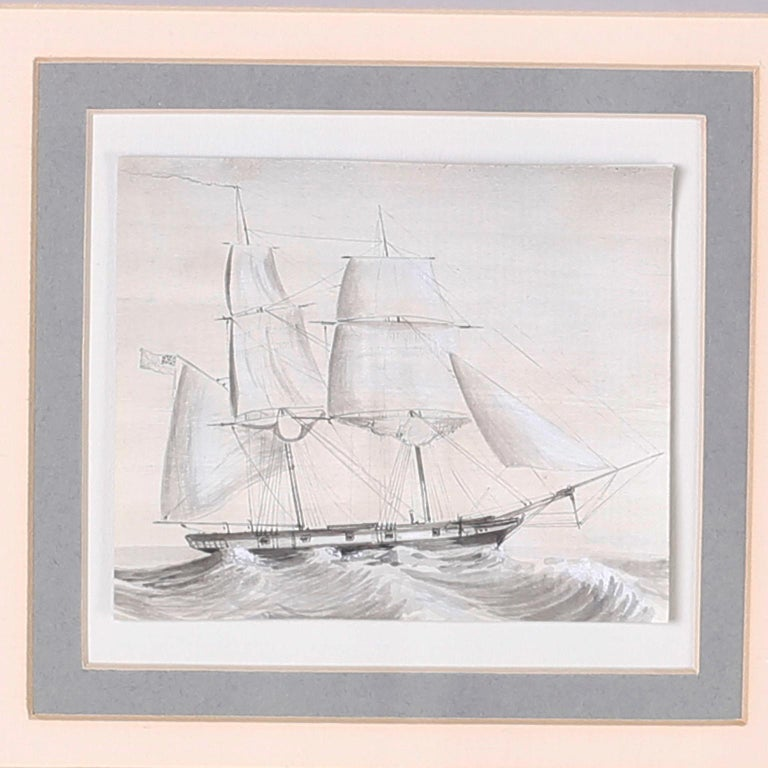 Set of nine antique drawings of American and English Navel Sailing ships executed in a pen and ink technique highlighted with watercolor, matted and presented in mahogany frames behind glass.  Top Row- H: 10.5 W: 11 D: .75 Middle Row- H: 10.5 W: