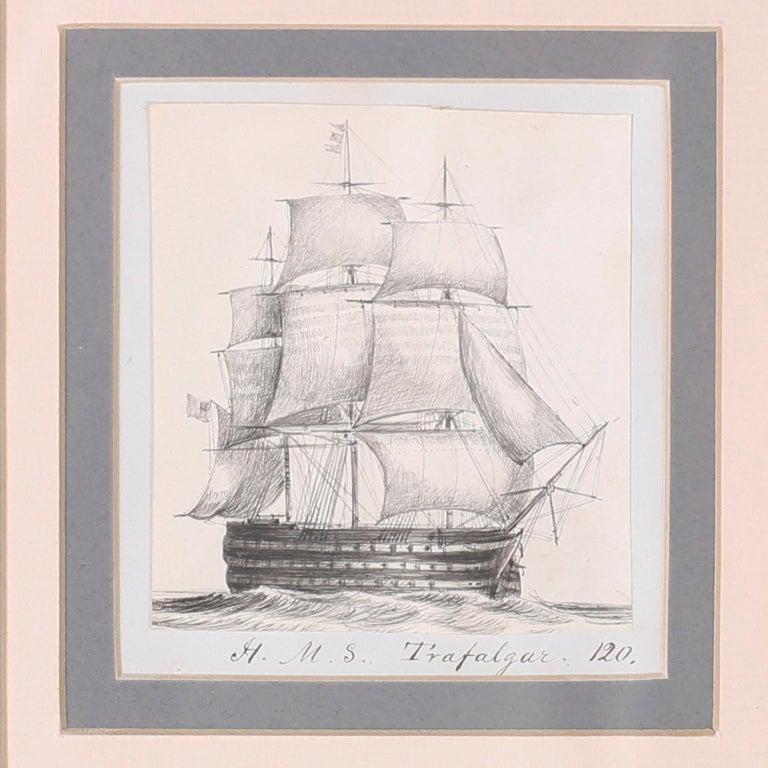 British Colonial Antique Set of Nine Framed Pen and Ink Navel Sailing Ships For Sale
