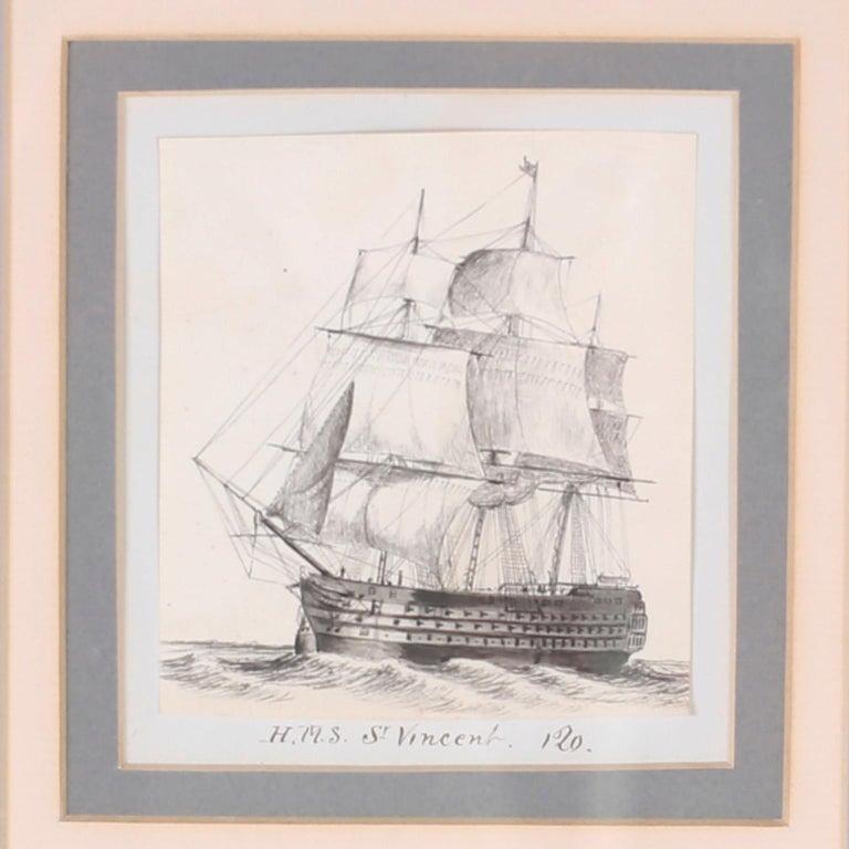 English Antique Set of Nine Framed Pen and Ink Navel Sailing Ships For Sale