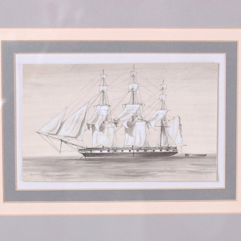 Antique Set of Nine Framed Pen and Ink Navel Sailing Ships In Good Condition For Sale In Palm Beach, FL