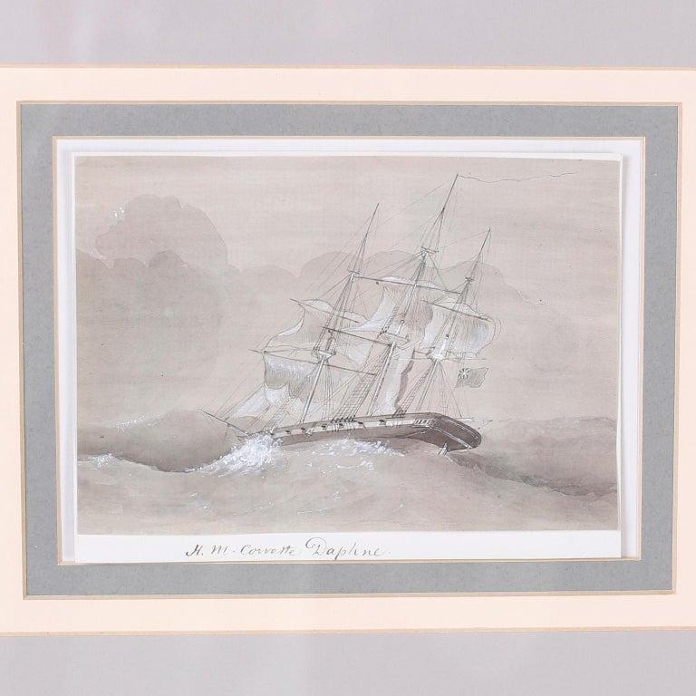 19th Century Antique Set of Nine Framed Pen and Ink Navel Sailing Ships For Sale