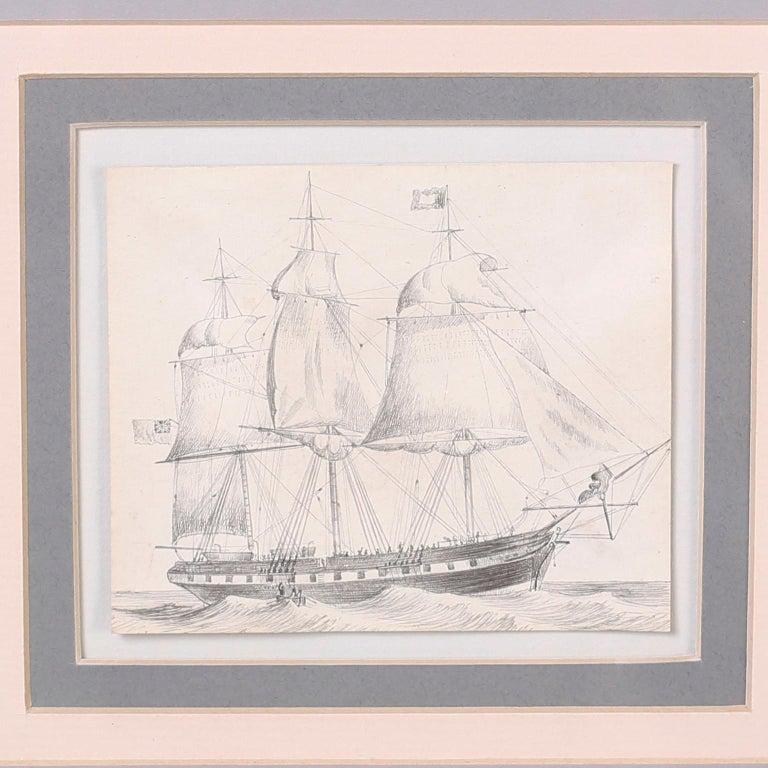 Paint Antique Set of Nine Framed Pen and Ink Navel Sailing Ships For Sale