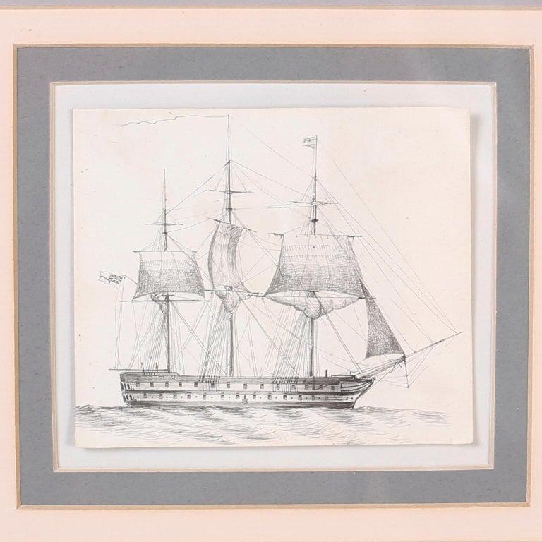 Antique Set of Nine Framed Pen and Ink Navel Sailing Ships For Sale 1