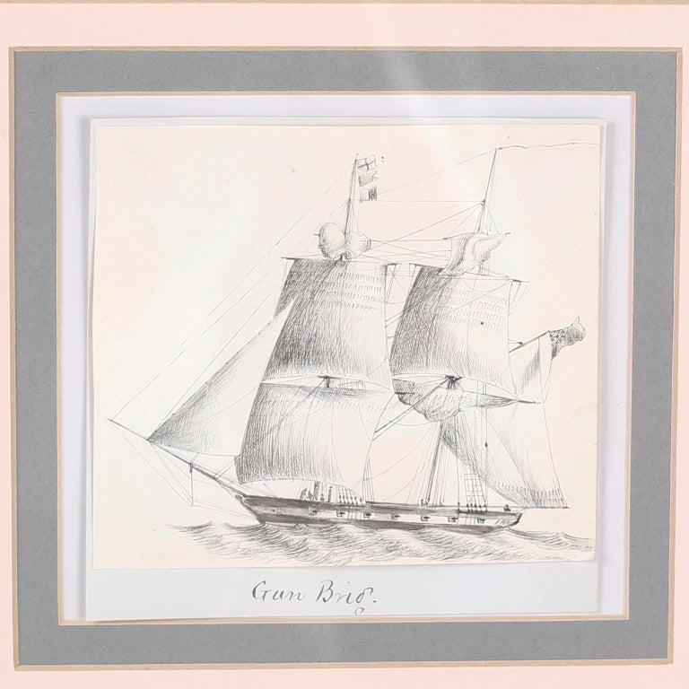 Antique Set of Nine Framed Pen and Ink Navel Sailing Ships For Sale 2