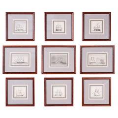 Antique Set of Nine Framed Pen and Ink Navel Sailing Ships