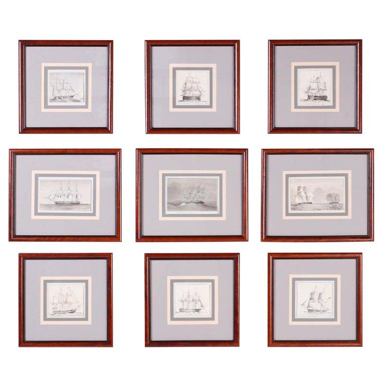 Antique Set of Nine Framed Pen and Ink Navel Sailing Ships For Sale