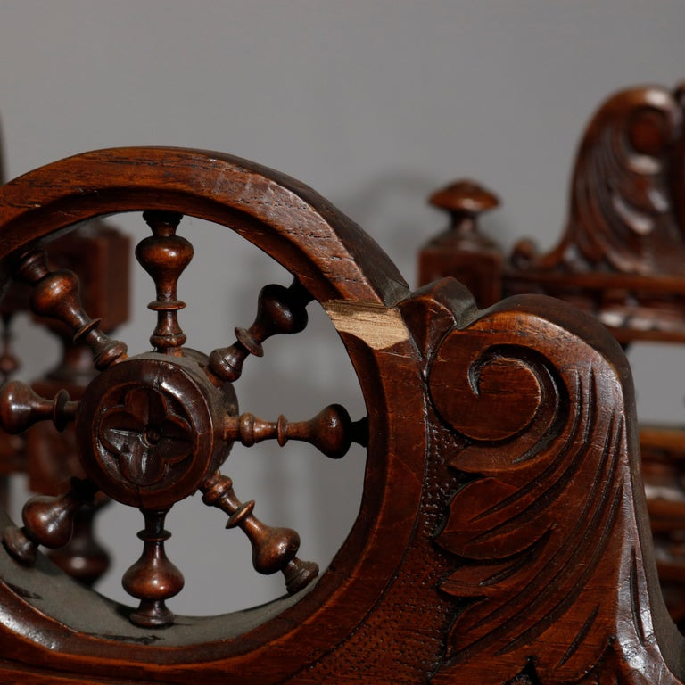 Antique Set of 6Continental Deeply Carved Genre Scenes Oak Dining Chairs, c 1890 For Sale 7