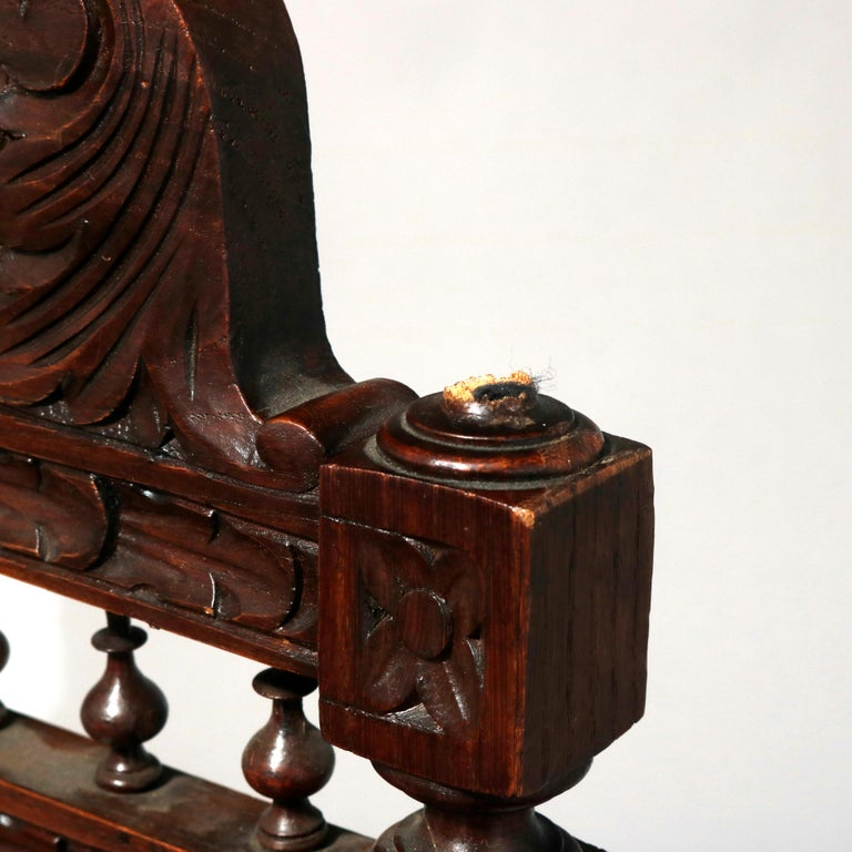Antique Set of 6Continental Deeply Carved Genre Scenes Oak Dining Chairs, c 1890 For Sale 8