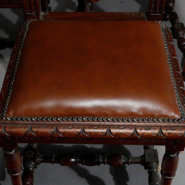 Antique Set of 6Continental Deeply Carved Genre Scenes Oak Dining Chairs, c 1890 For Sale 10