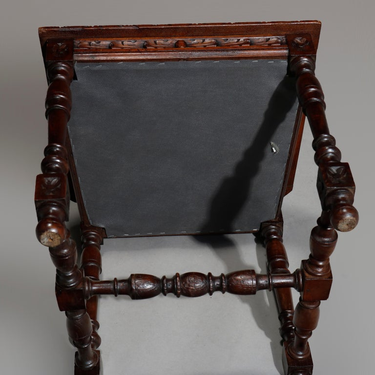 Antique Set of 6Continental Deeply Carved Genre Scenes Oak Dining Chairs, c 1890 For Sale 12